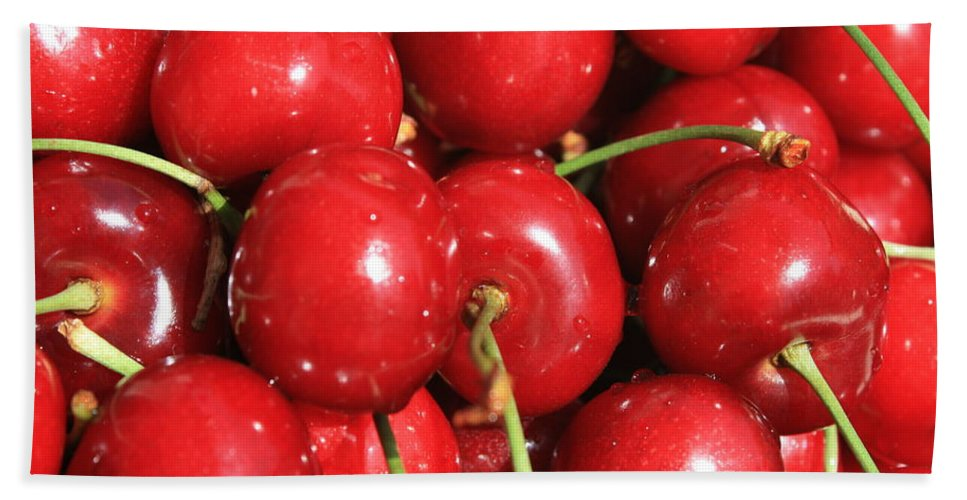 Cherries Hand Towel featuring the photograph Simply Cherries by Carol Groenen