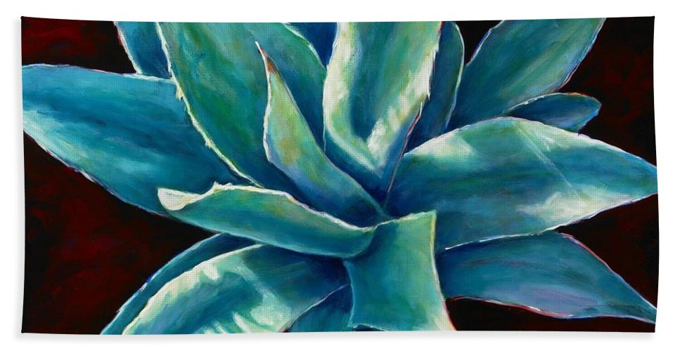 Agave Hand Towel featuring the painting Simply Succulent by Shannon Grissom