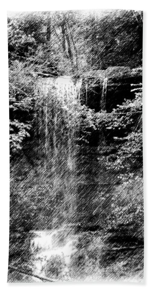 Digital Photograph Bath Towel featuring the photograph Simulated Pencil Drawing Tinker Falls. by David Lane