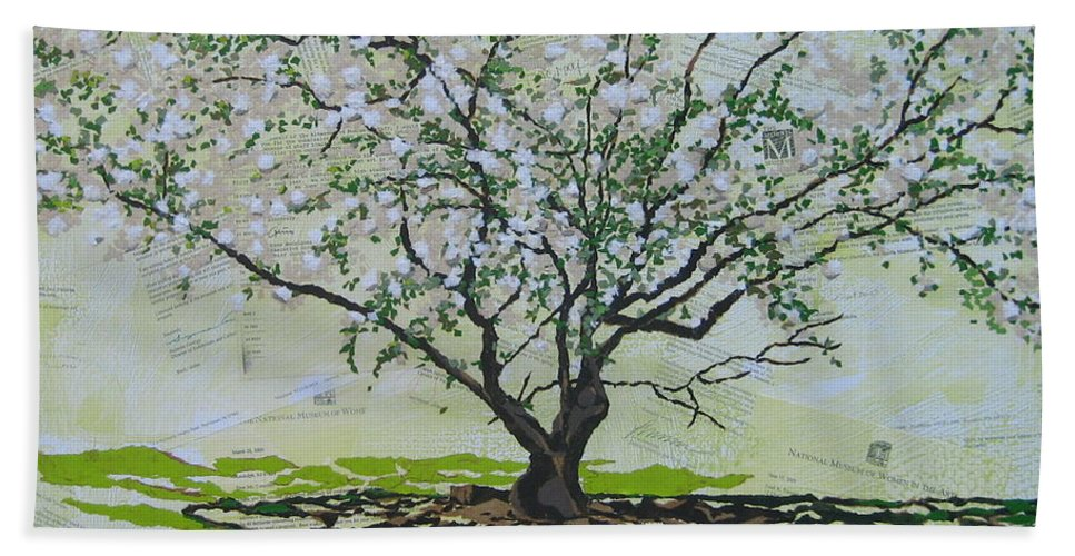 Apple Tree Bath Sheet featuring the painting Sincerely-the Curator by Leah Tomaino