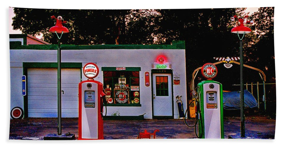 Gas Station Hand Towel featuring the photograph Sinclair by Steve Karol