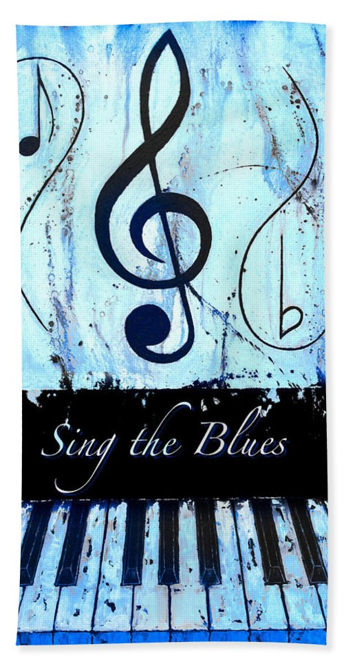 Sing The Blues Blue Hand Towel featuring the mixed media Sing The Blues Blue by Wayne Cantrell