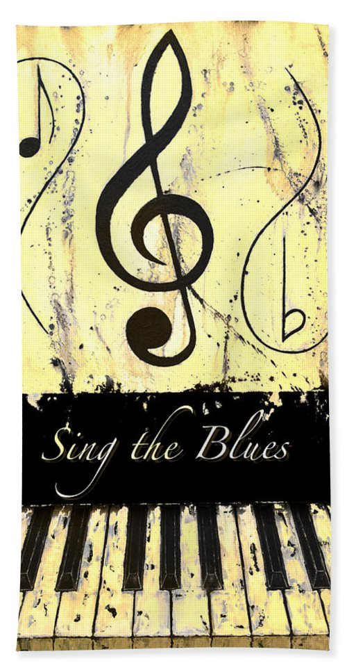 Sing The Blues Yellow Hand Towel featuring the mixed media Sing The Blues Yellow by Wayne Cantrell