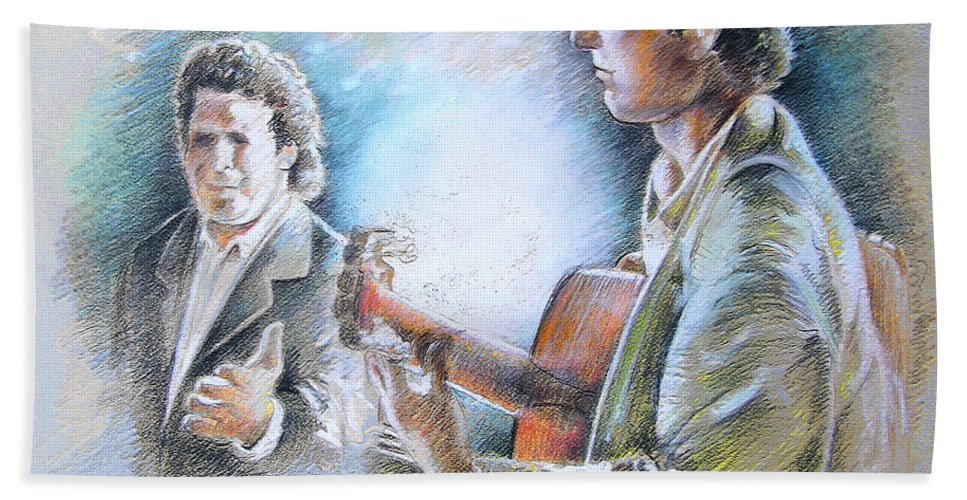 Music Bath Sheet featuring the painting Singer And Guitarist Flamenco by Miki De Goodaboom