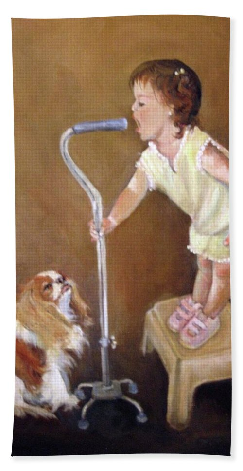 Nature Hand Towel featuring the painting Singin In The Cane Part Two by Donna Tucker