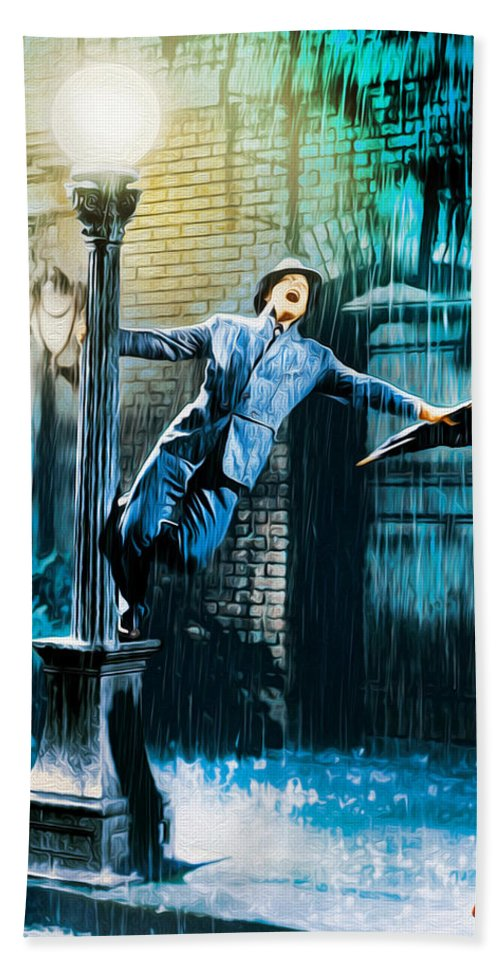 Singing In The Rain Bath Sheet featuring the painting Singin' In The Rain by Ed Garcia