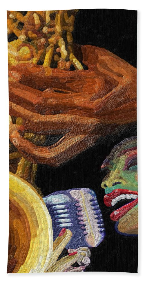 Music Hand Towel featuring the painting Singing The Blues by James Mingo