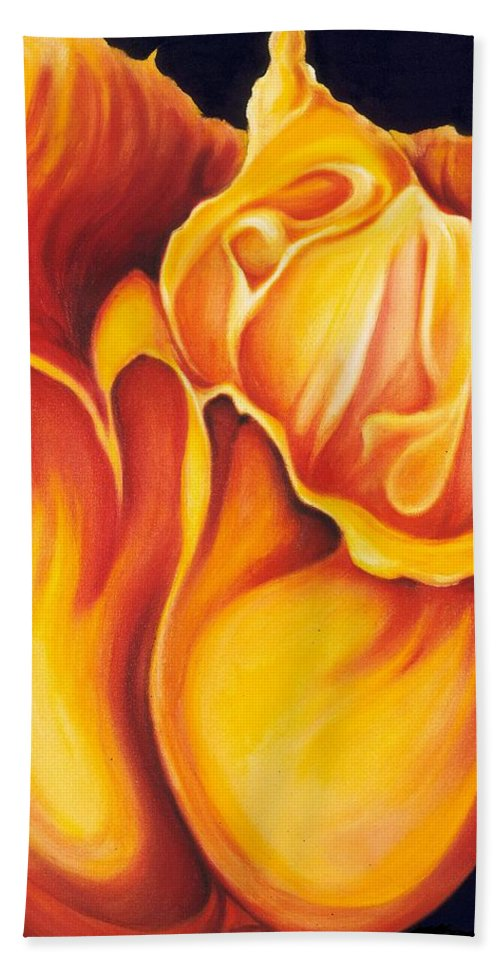 Surreal Tulip Bath Sheet featuring the painting Singing Tulip by Jordana Sands