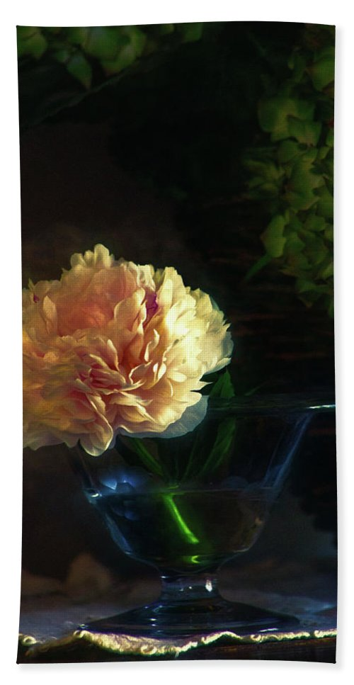 Flower Hand Towel featuring the photograph Single Peony by John Rivera