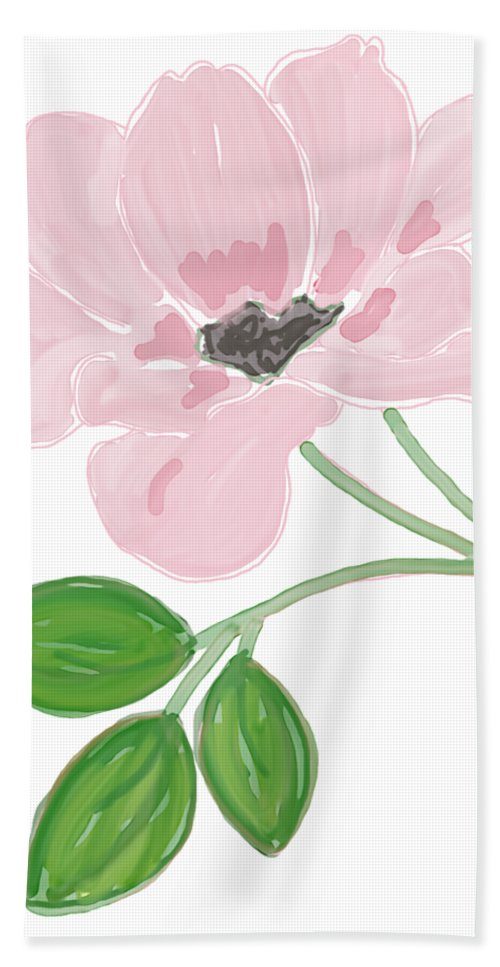 Single Pink Flower Hand Towel featuring the painting Single Pink Flower by Priscilla Wolfe
