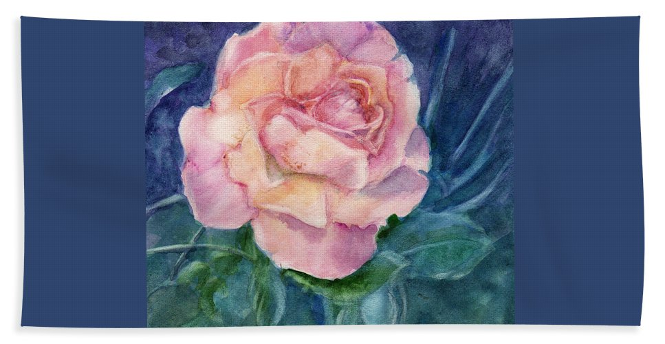 Watercolor Bath Sheet featuring the painting Single Rose On Clayboard by Katherine Berlin