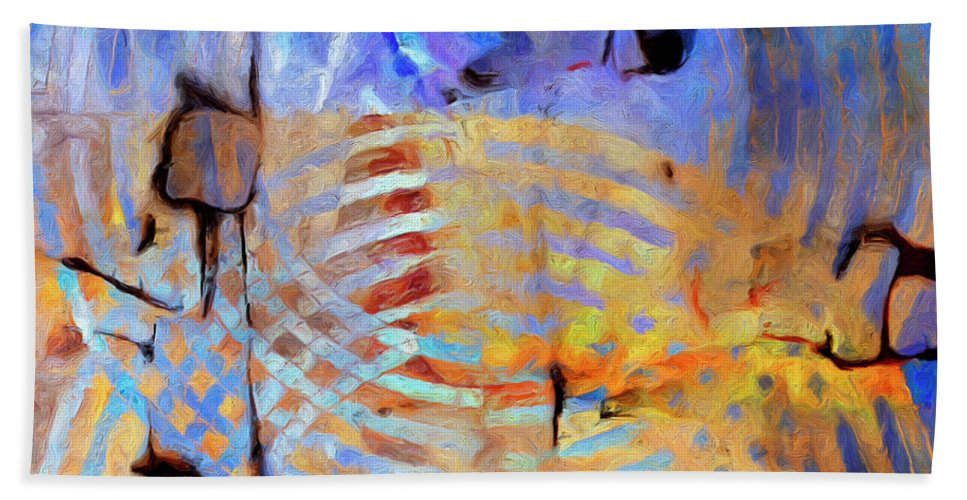 Abstract Hand Towel featuring the painting Singularity by Dominic Piperata