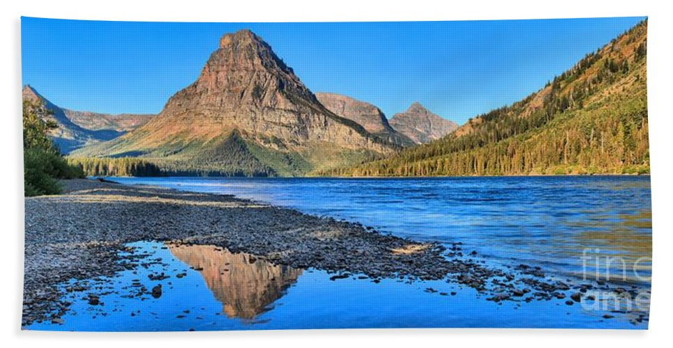 Two Medicine Hand Towel featuring the photograph Sinopah Mountain Panoramic Reflections by Adam Jewell