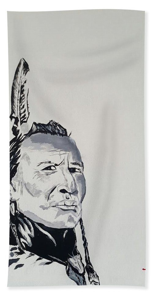 Native American Hand Towel featuring the painting Sioux Warrior by Todd Raley