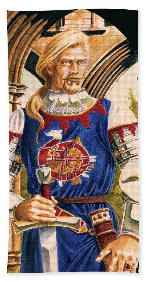 Swords Bath Sheet featuring the painting Sir Dinadan by Melissa A Benson