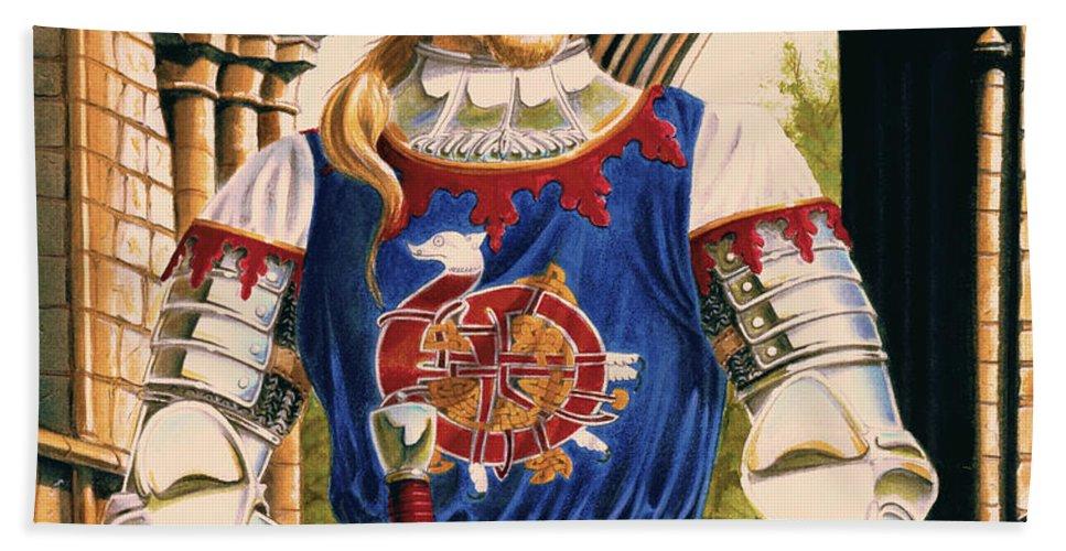 Swords Bath Towel featuring the painting Sir Dinadan by Melissa A Benson