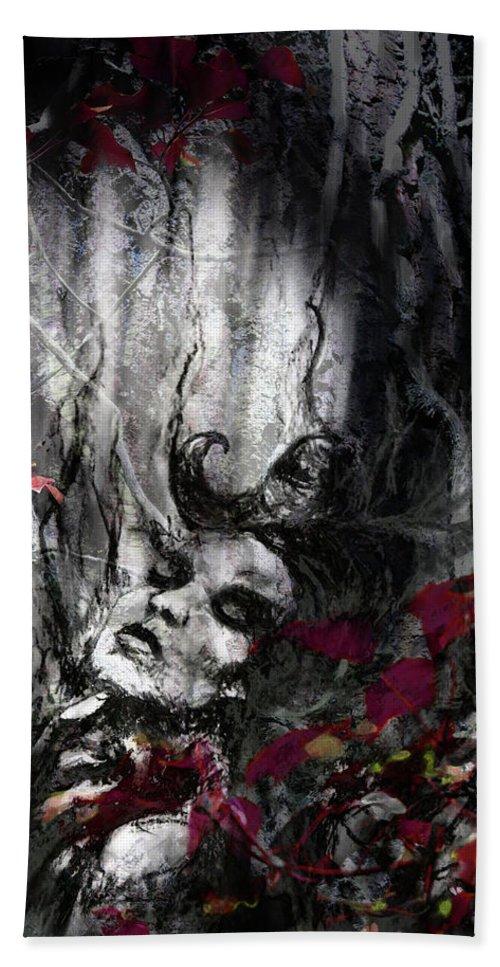 Zoe Oakley Bath Sheet featuring the mixed media Siren Of The Crimson Forest by Zoe Oakley