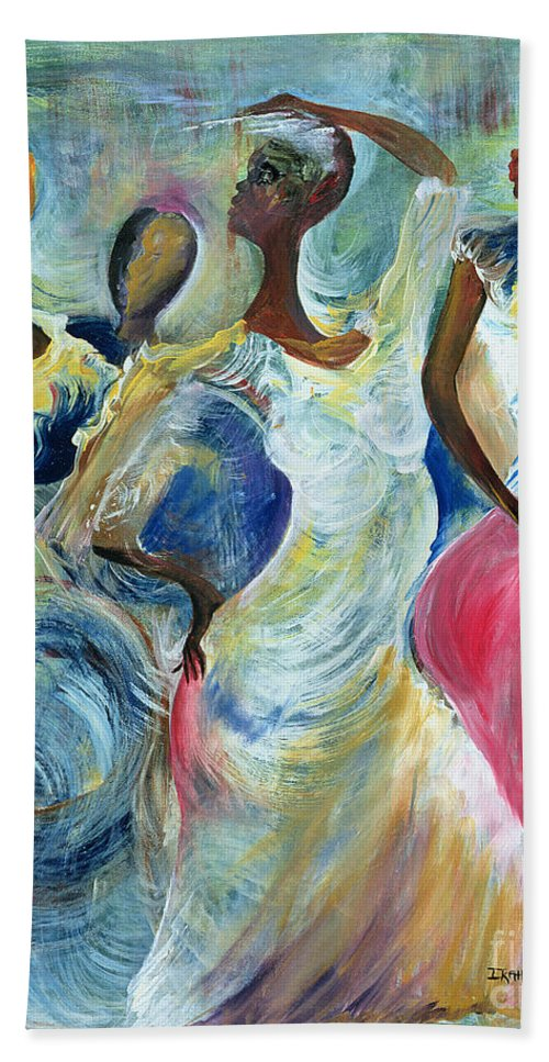 African Bath Sheet featuring the painting Sister Act by Ikahl Beckford