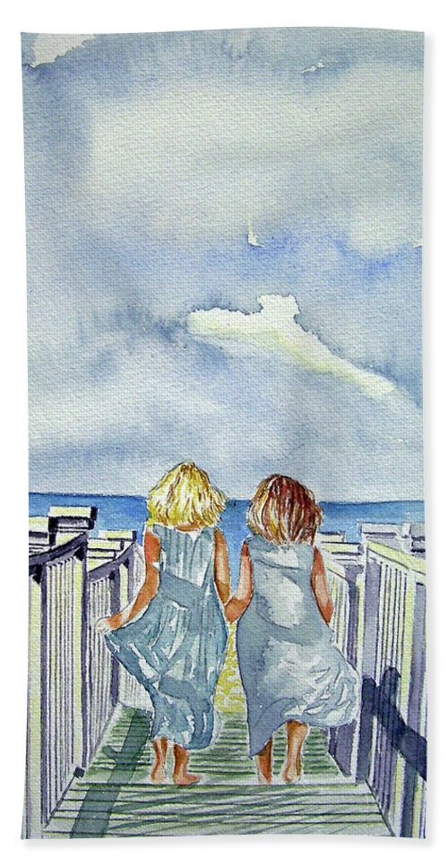 Sisters Bath Sheet featuring the painting Sisters by Paul Sandilands