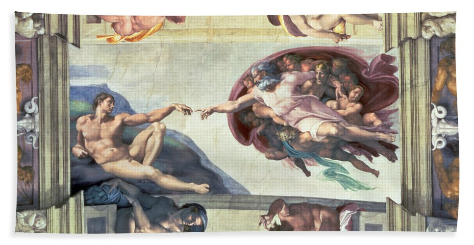 Sistine Hand Towel featuring the painting Sistine Chapel Ceiling Creation Of Adam by Michelangelo