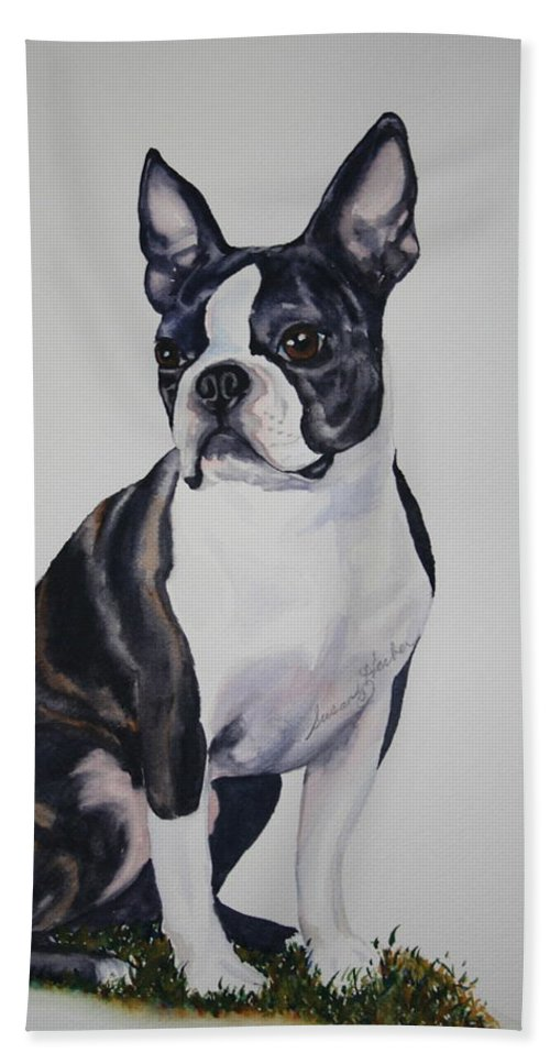 Boston Terrier Bath Sheet featuring the painting Sit by Susan Herber