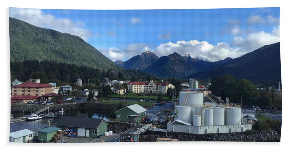 Sitka Hand Towel featuring the photograph Sitka From The Waterfront Showing The Three Sisters In The Back 2015 by California Views Archives Mr Pat Hathaway Archives