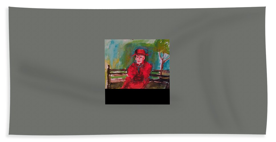 Hand Towel featuring the painting Sitting by Bethany Hannigan