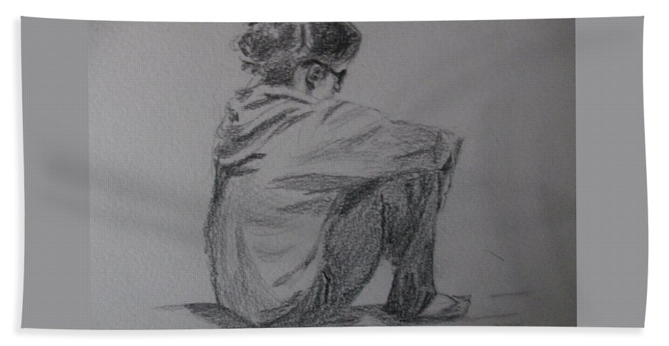 Sketch Hand Towel featuring the painting Sitting Girl by Katherine Berlin