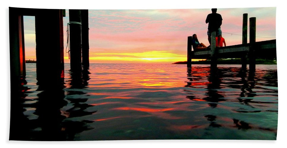Obx Outer Banks Pamlico Sound People Locals Sunset Water Wooden Docks Avon Harbor Reflection Hand Towel featuring the photograph Sitting On The Dock Of The Bay by Mark Lemmon