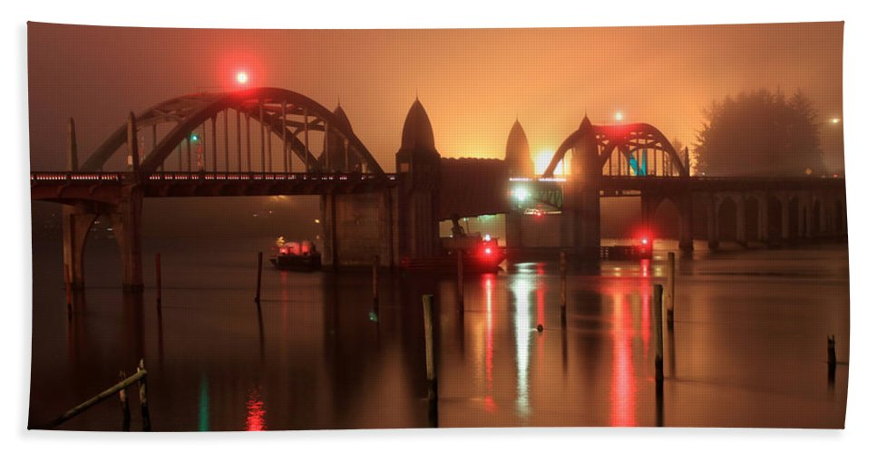 Night Bridge Hand Towel featuring the photograph Siuslaw River Bridge At Night by James Eddy