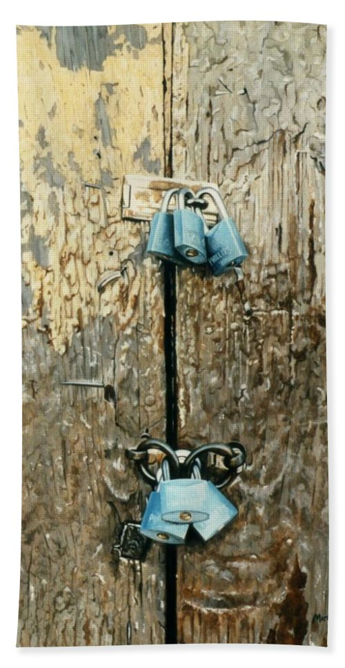 Hyperrealism Bath Sheet featuring the painting Six Locks by Michael Earney
