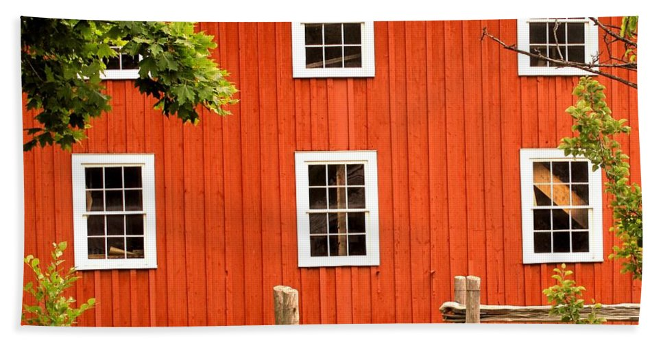 Red Wall Hand Towel featuring the photograph Six Windows by Ian MacDonald