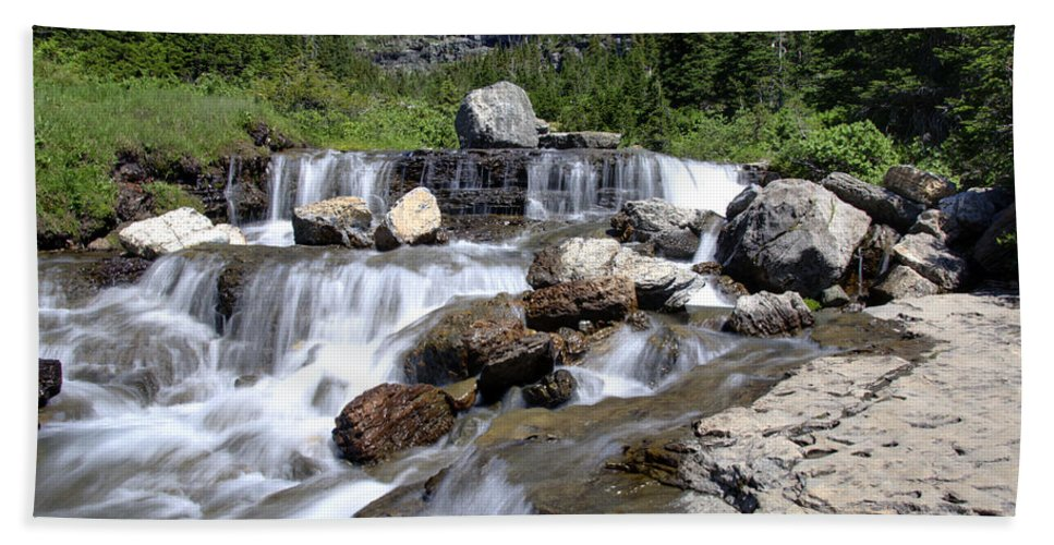 Waterfalls Hand Towel featuring the photograph Siyeh Bend Going-to-the-sun Glacier National Park-5 by Paul Cannon