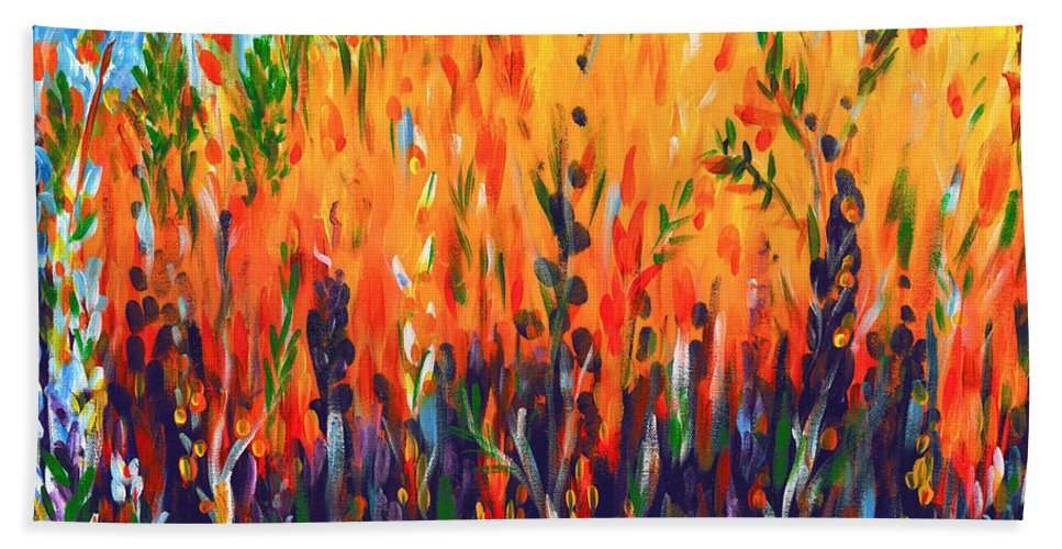 Fire Bath Sheet featuring the painting Sizzlescape by Holly Carmichael