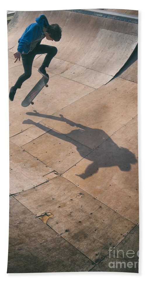Skate Hand Towel featuring the photograph Skater Boy 001 by Clayton Bastiani