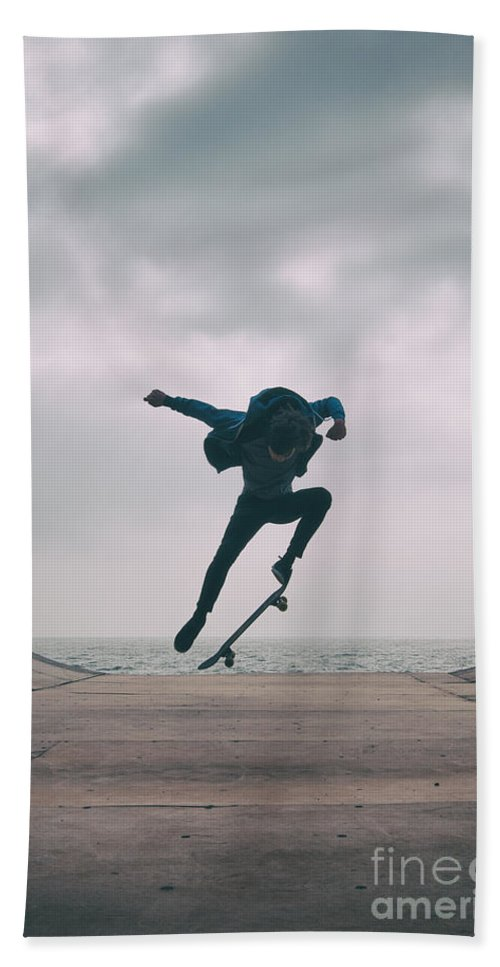 Skate Hand Towel featuring the photograph Skater Boy 004 by Clayton Bastiani