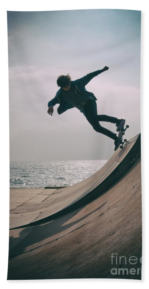 Skate Hand Towel featuring the photograph Skater Boy 007 by Clayton Bastiani