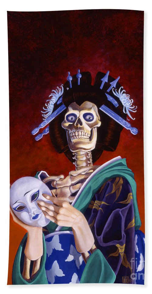 Skeleton Bath Towel featuring the painting Skeletal Geisha With Mask by Melissa A Benson