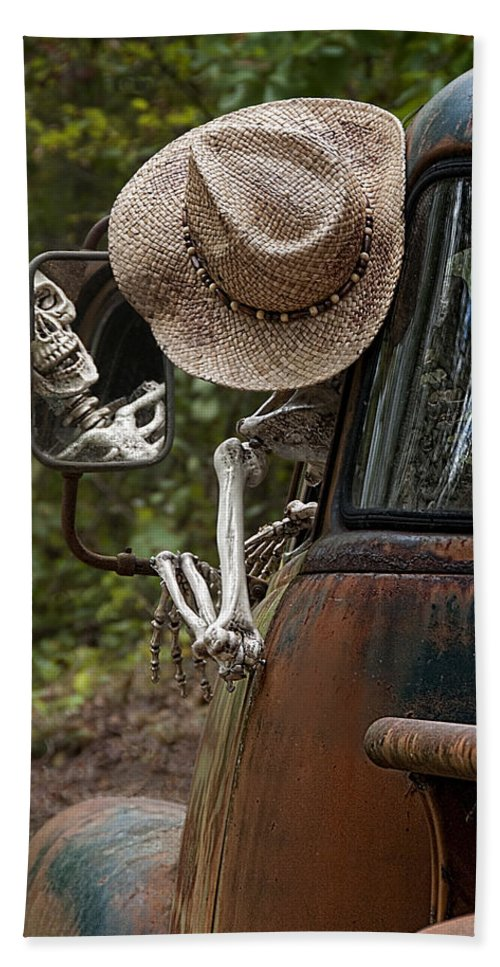 Skeleton Hand Towel featuring the photograph Skeleton Crew - Skeleton Driving A Vintage Truck by Mitch Spence