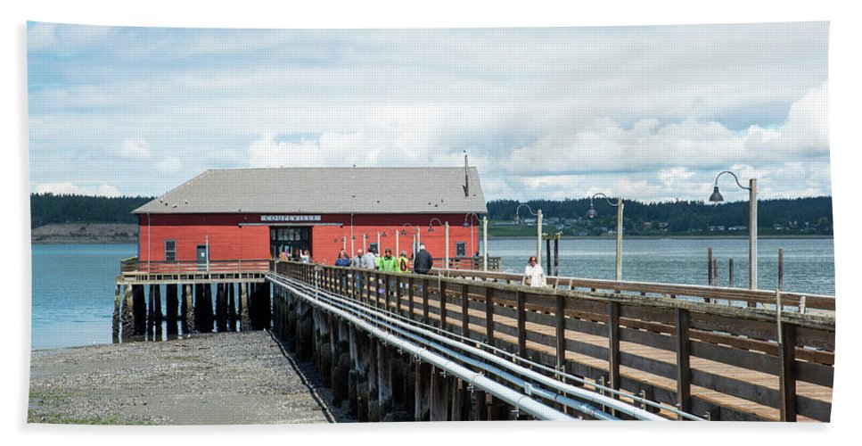 Coupeville Wharf Bath Sheet featuring the photograph Skeletons From The Ceiling by Tom Cochran