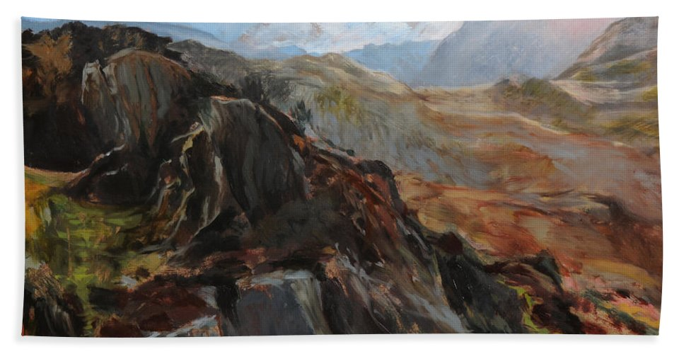 Landscape Hand Towel featuring the painting Sketch In Snowdonia by Harry Robertson