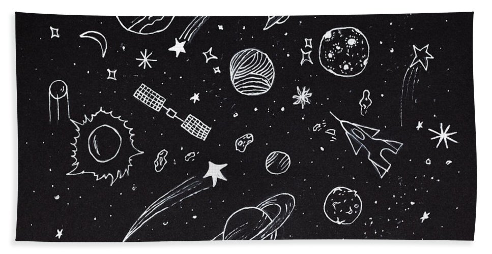 bc83facf6d8b Sketch Of Abstract Design Space Elements Over Night Sky Hand Towel