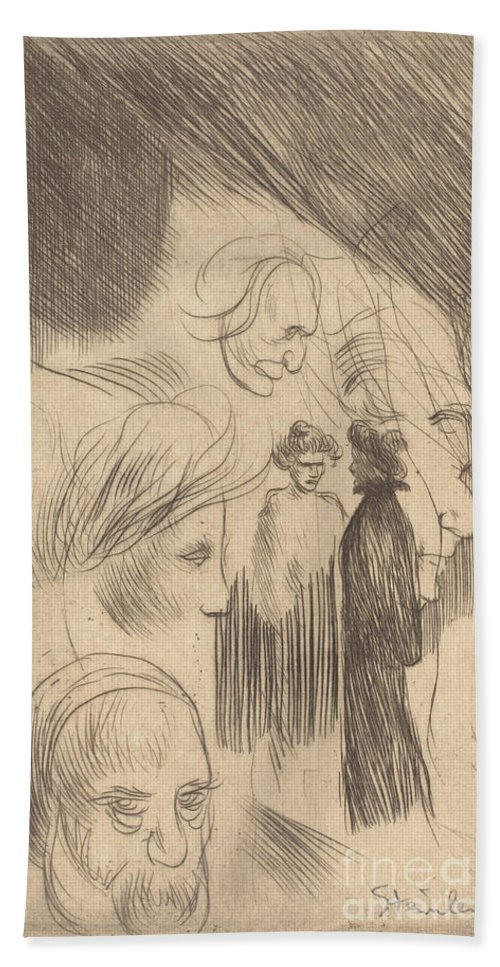 Hand Towel featuring the drawing Sketch Plate by Th?ophile Alexandre Steinlen