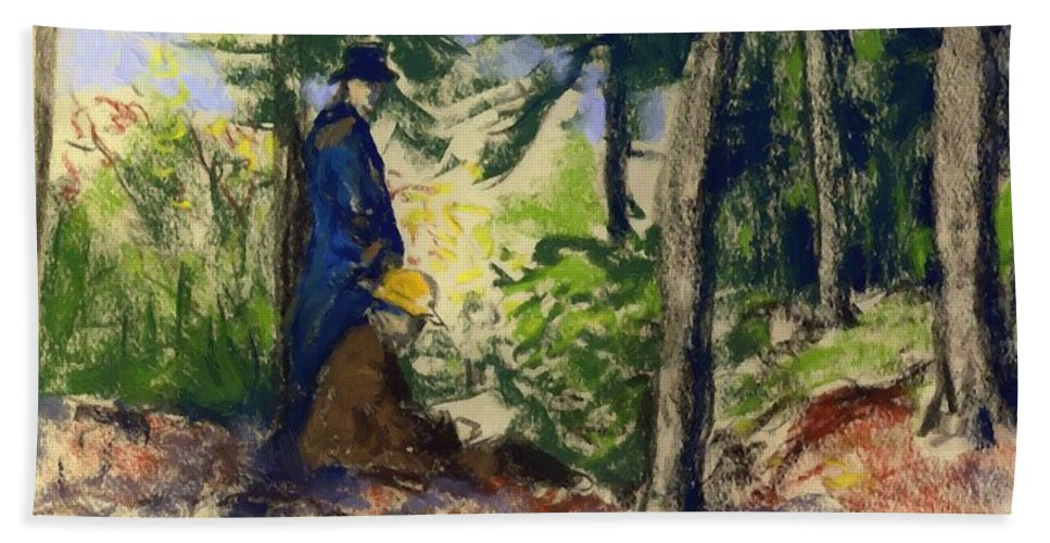 Sketchers Bath Sheet featuring the painting Sketchers In The Woods by Henri Robert