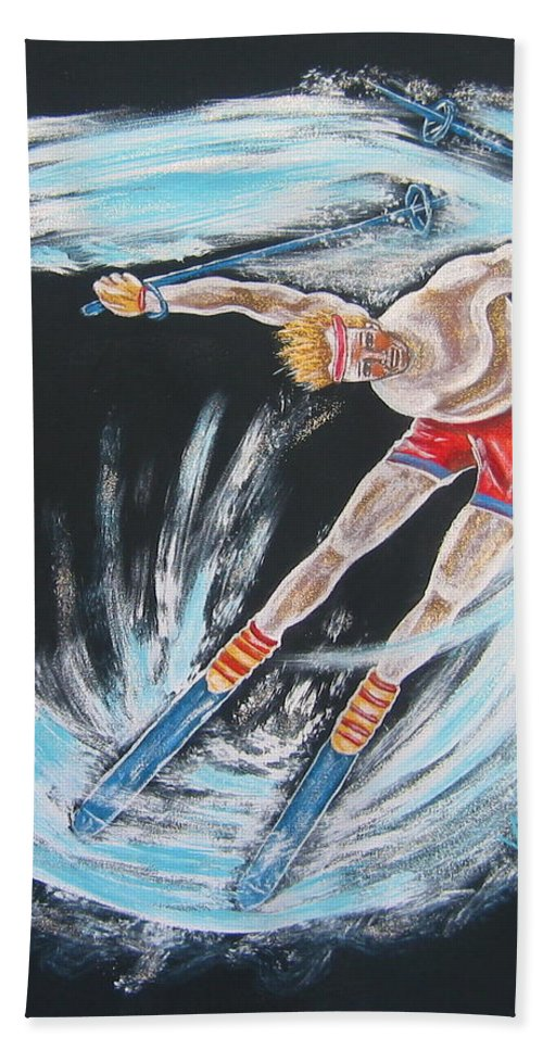 Abstract Sports Hand Towel featuring the painting Ski Bum by V Boge