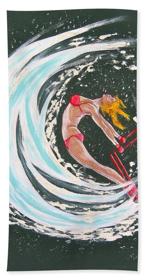 Abstract Sports Hand Towel featuring the painting Ski Bunny by V Boge