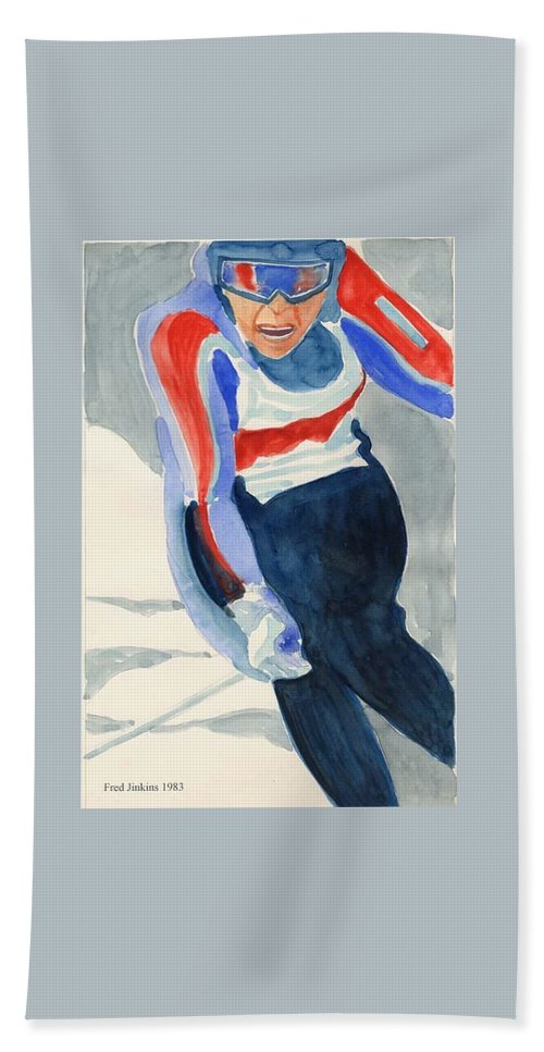 Skier Bath Sheet featuring the painting Skier by Fred Jinkins