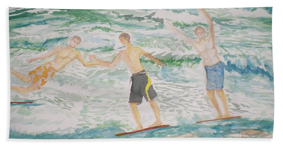 Seascape Hand Towel featuring the painting Skim Boarding Daytona Beach by Hal Newhouser