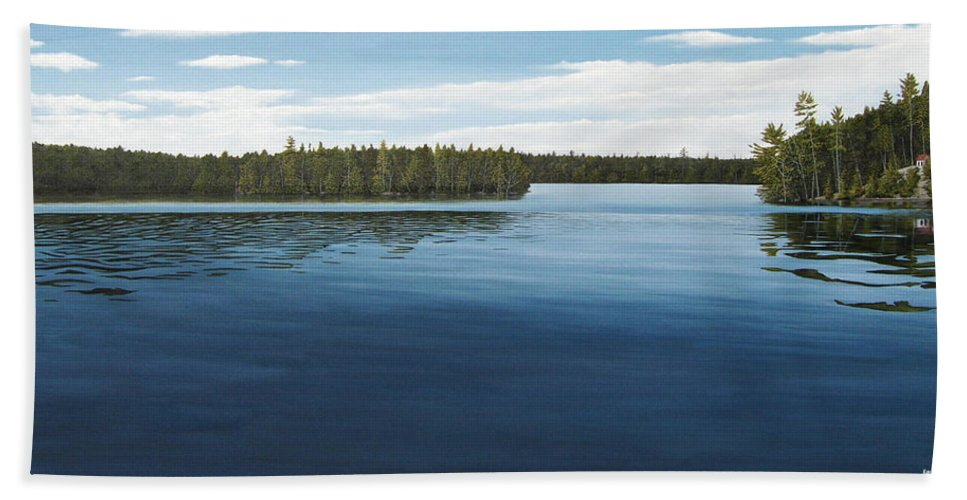 Landscapes Bath Towel featuring the painting Skinners Bay Muskoka by Kenneth M Kirsch