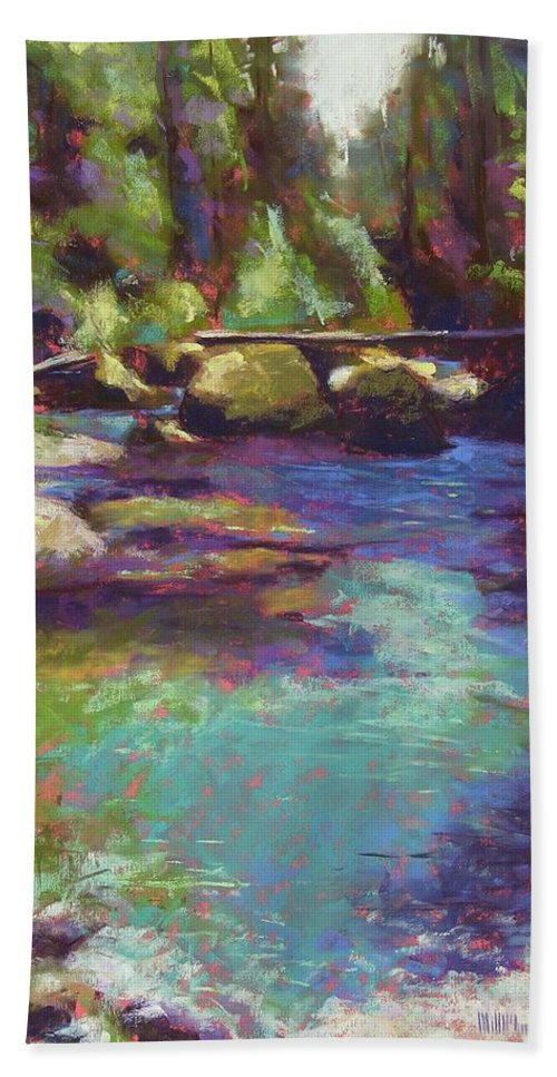 Landscape Bath Towel featuring the painting Skokomish River by Mary McInnis